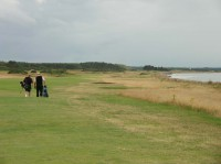 Chris and Richard on the 1st nairn ,Nairn golf club, finest courses